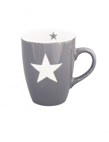 Krasilnikoff Keramik Kaffeetasse Tasse Becher Mug grau weiß Stern