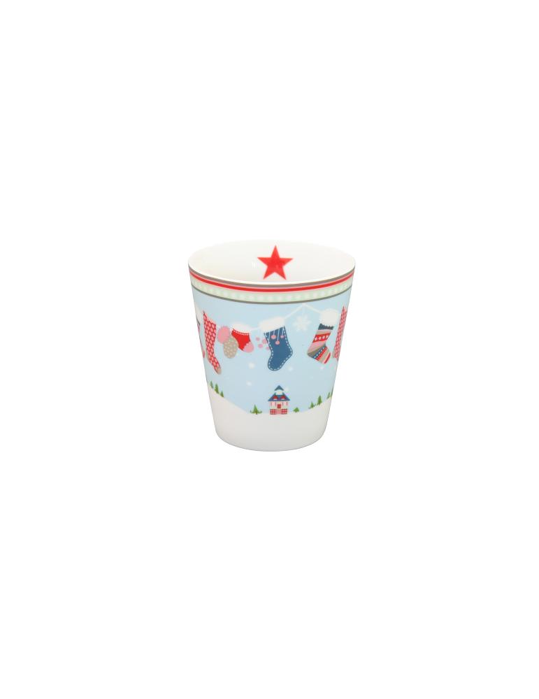 Krasilnikoff Porzellan Kaffeetasse Tasse Becher Mug Weihnachten Strumpf Stern