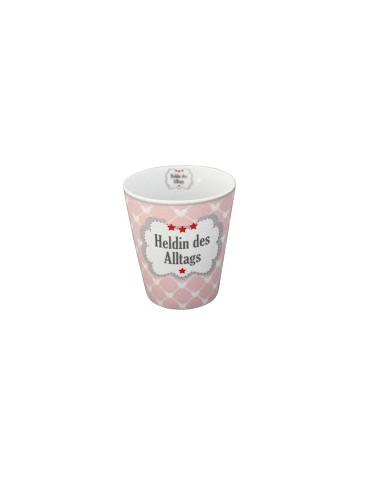 """Krasilnikoff Porzellan Kaffeetasse Tasse Becher rose weiß """"Heldin des Alltags"""""""
