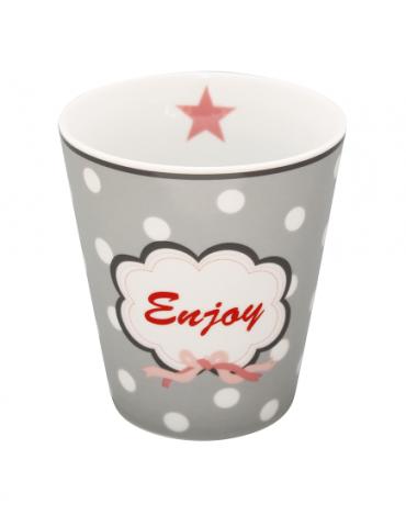 "Krasilnikoff Porzellan Kaffeetasse Tasse Becher Mug grau weiß rot rose ""Enjoy"""