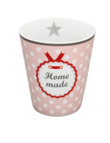 """Krasilnikoff Porzellan Kaffeetasse Tasse Becher Mug rose weiß rot """"Home Made"""""""