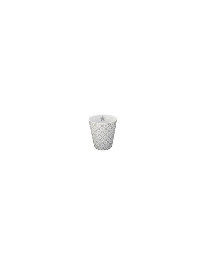 Krasilnikoff Porzellan Kaffeetasse Tasse Becher weiß hellgrau Diagonal HM 180