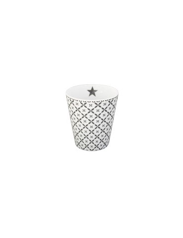Krasilnikoff Porzellan Kaffeetasse Tasse Becher weiß grau Diagonal HM 181