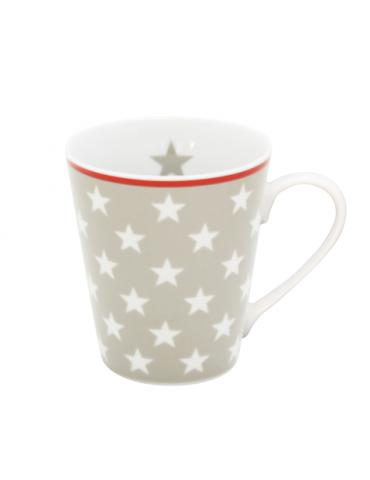 Krasilnikoff Porzellan Kaffeetasse Tasse Becher Mug taupe weiß rot Sterne