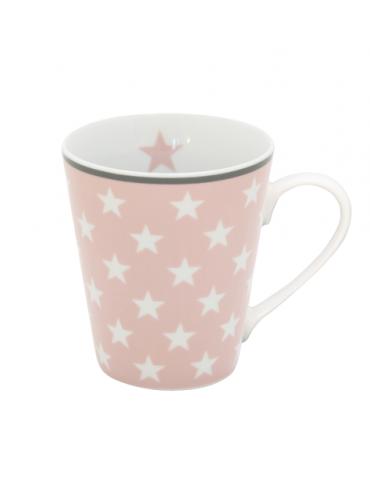 Krasilnikoff Porzellan Kaffeetasse Tasse Becher Mug rose rosa weiß grau Sterne
