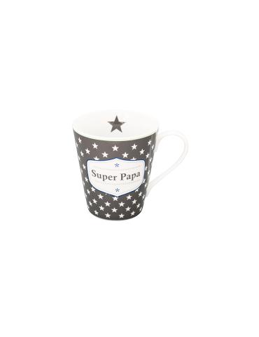 Krasilnikoff Porzellan Kaffeetasse Tasse Becher Mug grau weiß Super Papa HMH 87