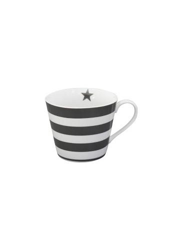Krasilnikoff Porzellan Kaffeetasse Tasse Happy Cup weiß grau Streifen HC 191