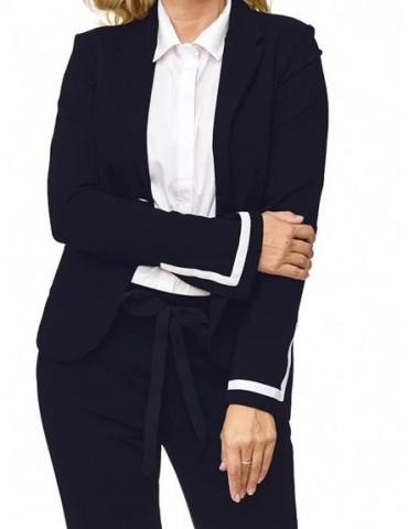 Esvivid Bequemer Sportlicher Jersey Blazer Business tailliert dunkelblau weiß Schlitz