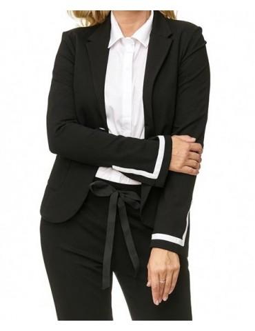 Esvivid Bequemer Sportlicher Jersey Blazer Business tailliert schwarz weiß Schlitz