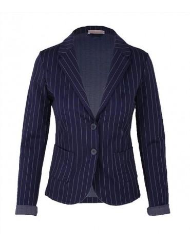 Esvivid Bequemer Sportlicher Jersey Blazer Business tailliert dunkelblau weiß Nadelstreifen