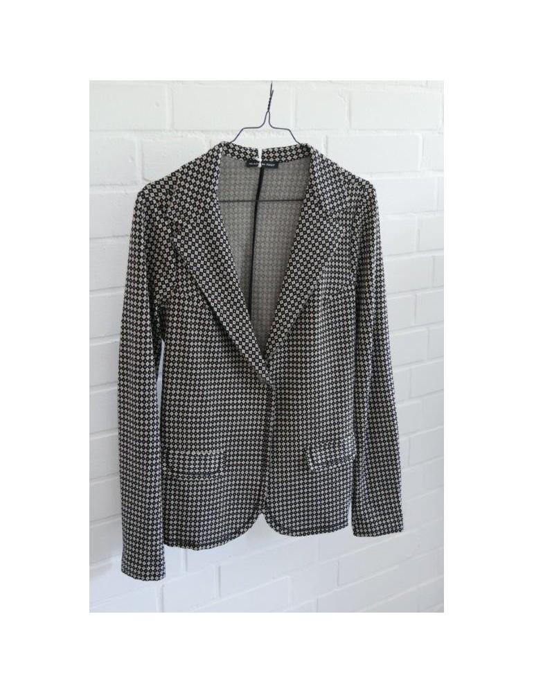 Bequemer Sportlicher Jersey Blazer Business tailliert schwarz beige Muster