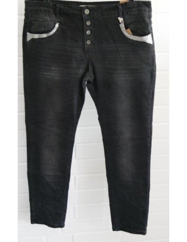 Karostar Coole Big Size Jeans Hose schwarz black 3XL ca. 48 50 Pailletten