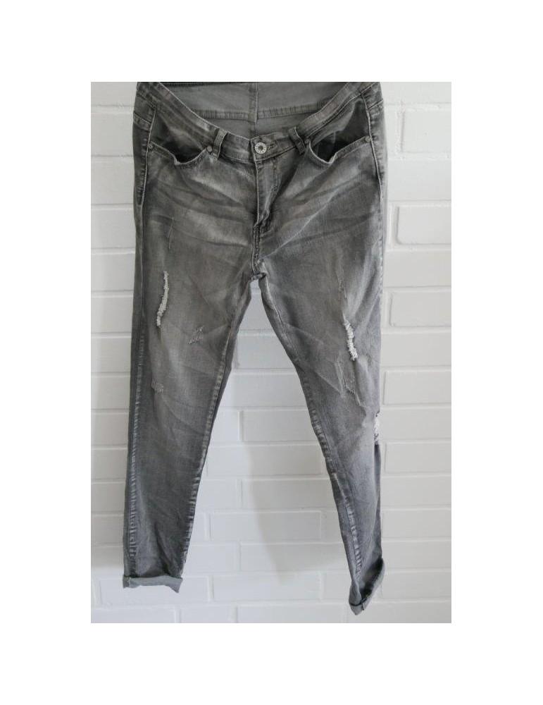 C & S Coole Jeans Hose Damenhose grau verwaschen Abrieb Gr. XL 40 42