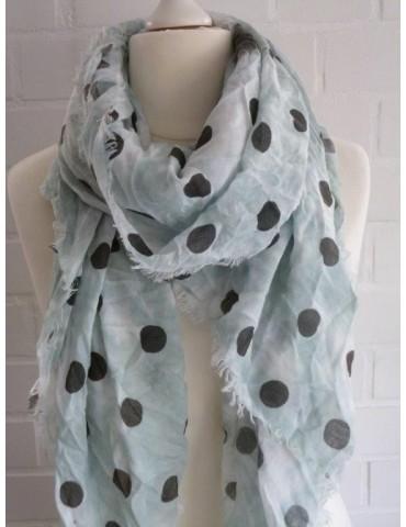 XXL Schal Tuch mint schwarz creme Punkte Muster mit Baumwolle