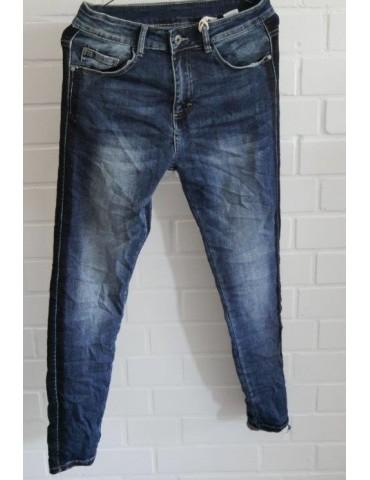 Melly & Co Coole Bequeme  Jeans Hose dunkelblau schwarz Streifen