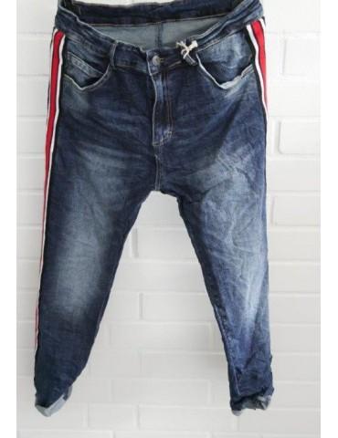 Melly & Co Coole Jeans Hose dunkelblau Streifen rot weiß schwarz