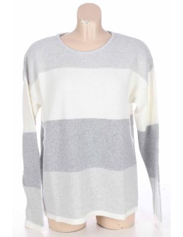 Zwillingsherz Pullover hellgrau grau creme Gr. 1 36 38 Block Streifen mit Kaschmir Sina