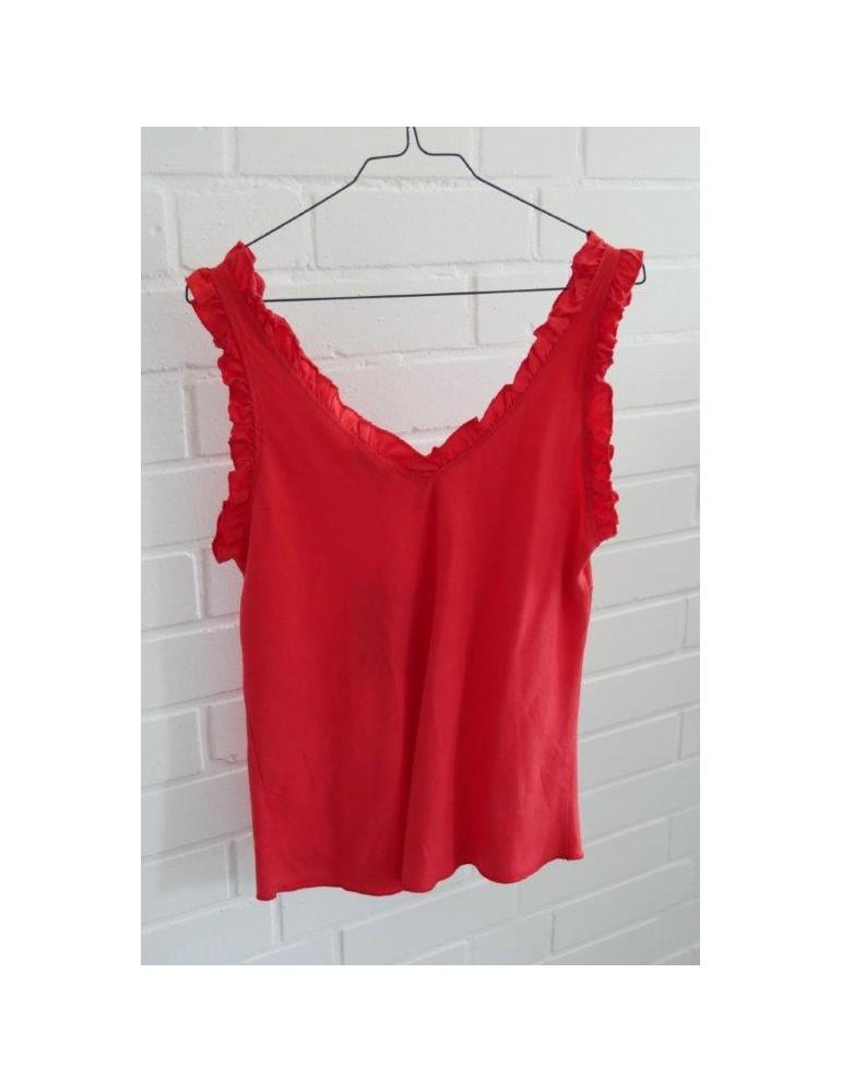 Top Shirt rot feuerrot red Rüschen Lyocell Onesize ca. 36 - 40
