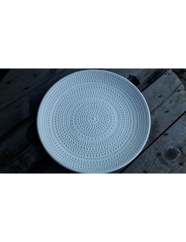 Dekobrett Teller für Teelichter Holz weiß Muster rund Ø 34 cm 13289
