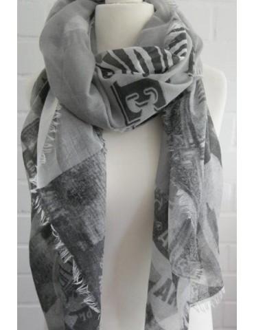 C & S XXL Schal Tuch hellgrau creme schwarz Schrift Zebra Viskose