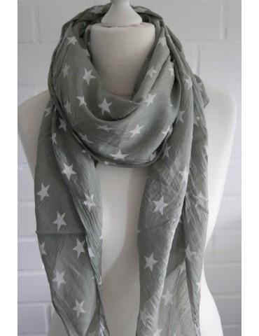 Schal Tuch Loop Made in Italy Seide Baumwolle hell oliv weiß Sterne