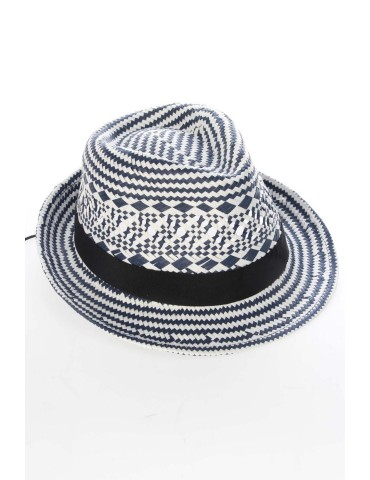 Hut Hüte dunkelblau weiß Papier Band