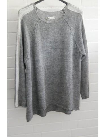 Strick Pullover leichte A-Form grau creme Streifen Onesize ca.  36 - 42 mit Wolle