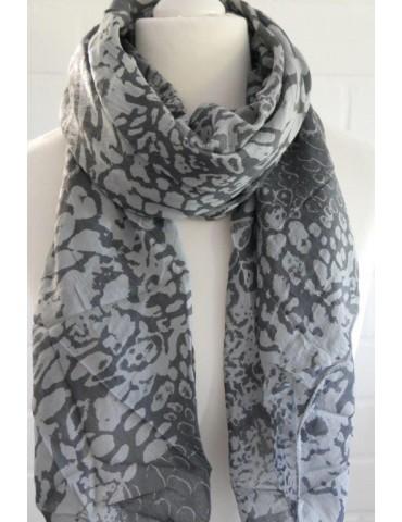 Schal Tuch Loop Made in Italy Seide Baumwolle hellgrau grau Leo
