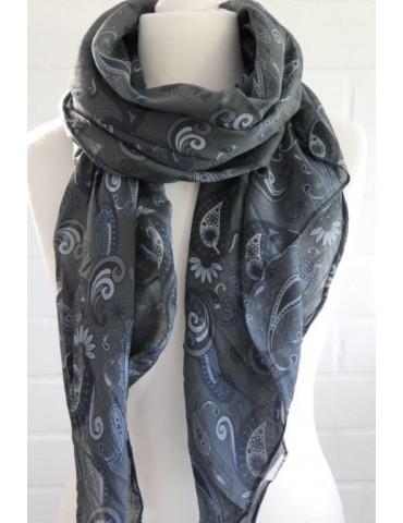 Schal Tuch Loop Made in Italy Seide Baumwolle anthrazit grau hellgrau blau Paisly