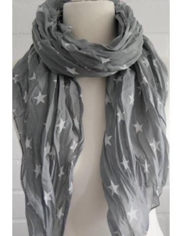 Schal Tuch Loop Made in Italy Seide Baumwolle grau weiß Sterne