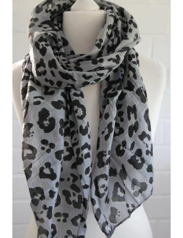 Schal Tuch Loop Made in Italy Seide Baumwolle hellgrau schwarz Leo