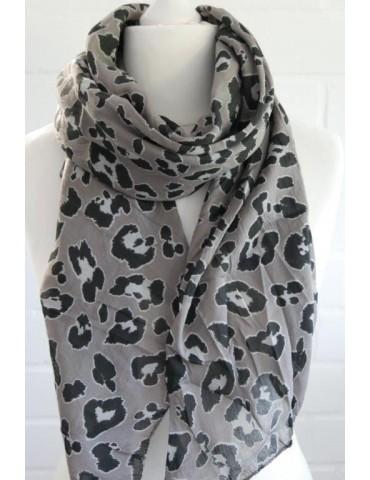 Schal Tuch Loop Made in Italy Seide Baumwolle taupe schwarz beige Leo