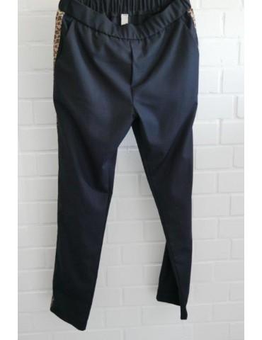 ESViViD Coole Sportliche Hose Chino dunkelblau braun Leo Streifen
