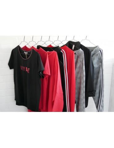 C & S Shirt kurzarm rot schwarz LOVIN mit...