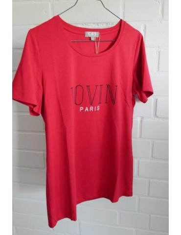 C & S Shirt kurzarm rot schwarz LOVIN mit Baumwolle Gr. M 36 38